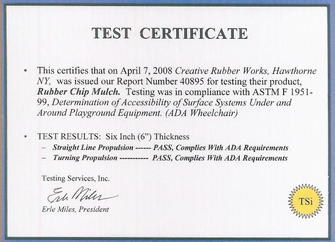 Creative Rubber Works TSI Test Certificate